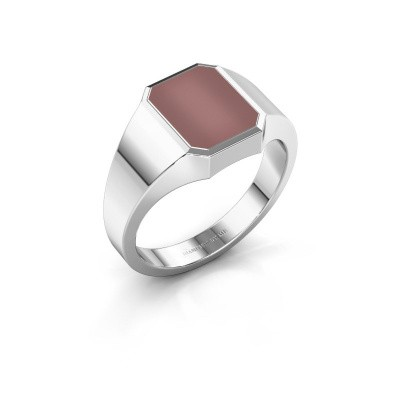 Signet ring Glenn 1 375 white gold carnelian 10x8 mm