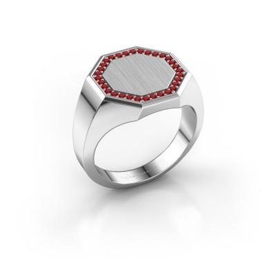 Men's ring Floris Octa 3 585 white gold ruby 1.2 mm