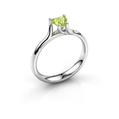 Engagement ring Dewi Heart 925 silver peridot 5 mm