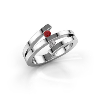 Ring Synthia 925 silver ruby 2.5 mm