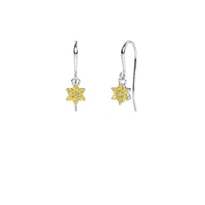 Drop earrings Dahlia 1 950 platinum yellow sapphire 1.7 mm