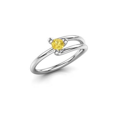 Ring Roosmarijn 585 Weißgold Gelb Saphir 3.7 mm