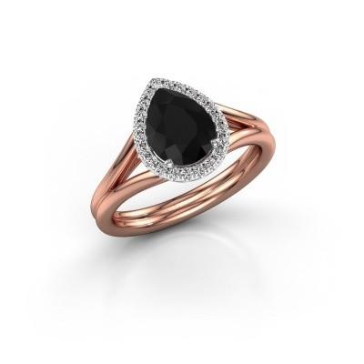 Foto van Verlovingsring Elenore 585 rosé goud zwarte diamant 1.287 crt
