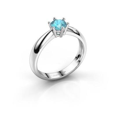 Verlovingsring Fay 585 witgoud blauw topaas 5 mm