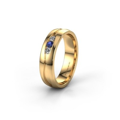 Trouwring WH0172L25A 375 goud saffier ±5x1.7 mm