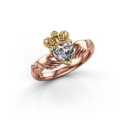 Foto van Ring Claddagh 2 585 rosé goud lab-grown diamant 0.80 crt