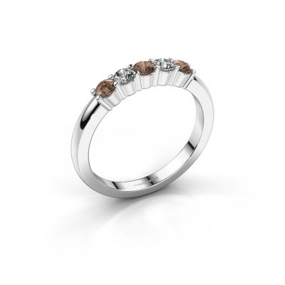 Foto van Verlovingsring Yasmin 5 585 witgoud bruine diamant 0.50 crt
