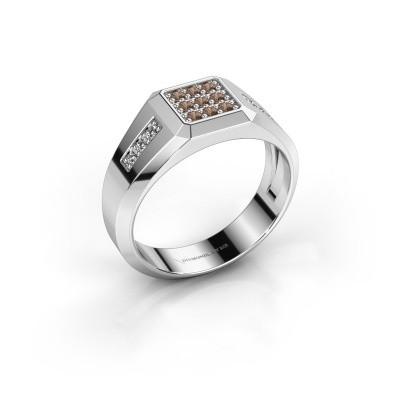 Foto van Pinkring Bas 925 zilver bruine diamant 0.30 crt