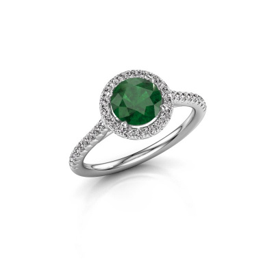 Picture of Engagement ring Seline rnd 2 585 white gold emerald 6.5 mm