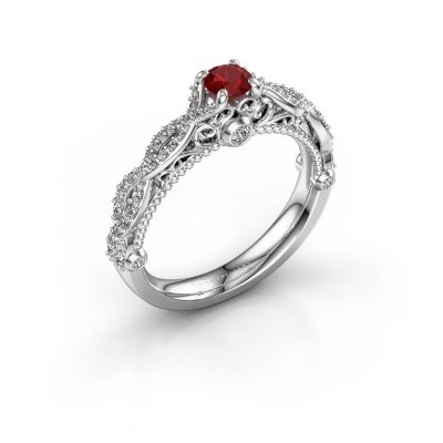 Photo de Bague de fiançailles Chantelle 585 or blanc rubis 4 mm