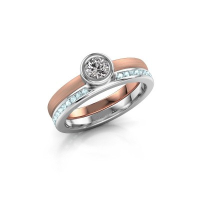 Ring Cara 585 rosé goud aquamarijn 4 mm