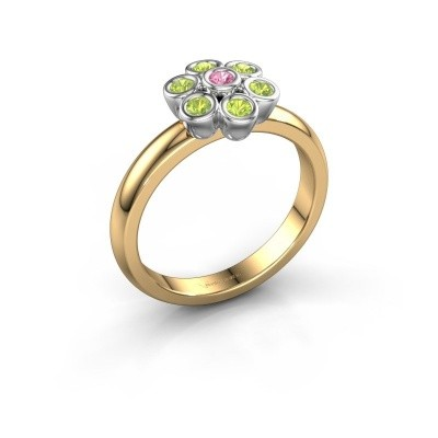 Ring Aaliyah 585 goud roze saffier 2 mm