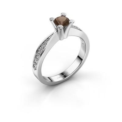 Promise ring Ichelle 2 950 platina rookkwarts 4.7 mm