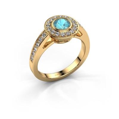 Verlovingsring Raven 1 375 goud blauw topaas 5 mm