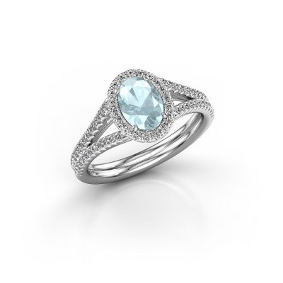 Engagement ring Rachele 2 950 platinum aquamarine 7x5 mm