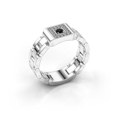 Herrenring Giel 585 Weißgold Schwarz Diamant 0.216 crt