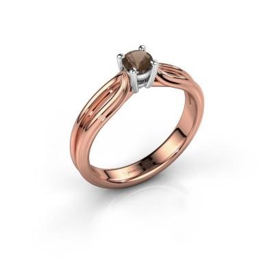 Verlovingsring Antonia 1 585 rosé goud rookkwarts 4 mm