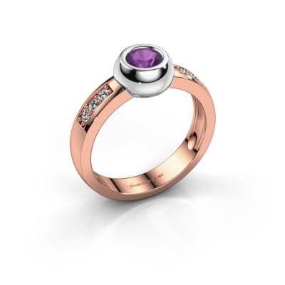 Ring Charlotte Round 585 rosé goud amethist 4.7 mm