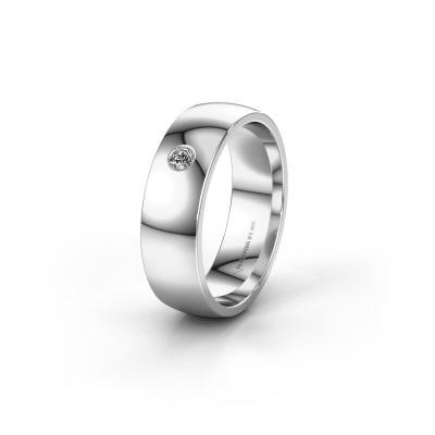 Foto van Trouwring WH0101L26AP 950 platina diamant ±6x1.4 mm