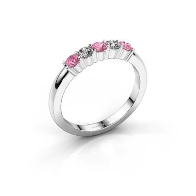 Foto van Verlovingsring Yasmin 5 585 witgoud roze saffier 3 mm
