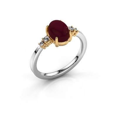 Ring Jelke 585 witgoud granaat 8x6 mm
