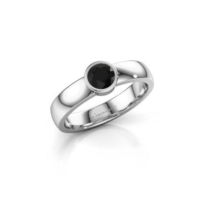 Ring Ise 1 585 witgoud zwarte diamant 0.48 crt