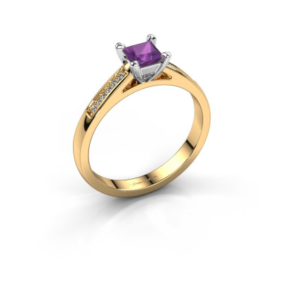 Engagement ring Nynke SQR 585 gold amethyst 4 mm