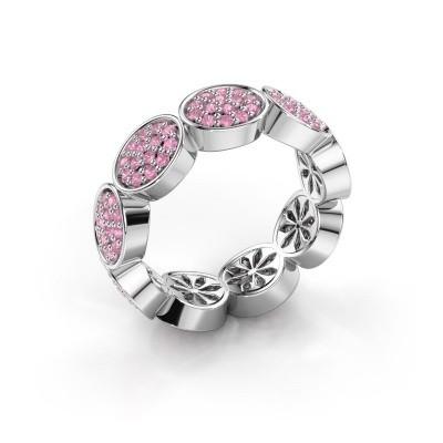 Ring Robin 585 witgoud roze saffier 1.2 mm