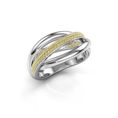 Ring Candice 585 witgoud gele saffier 0.8 mm