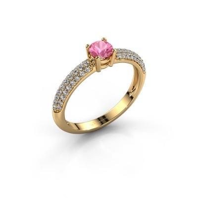 Verlobungsring Marjan 375 Gold Pink Saphir 4.2 mm