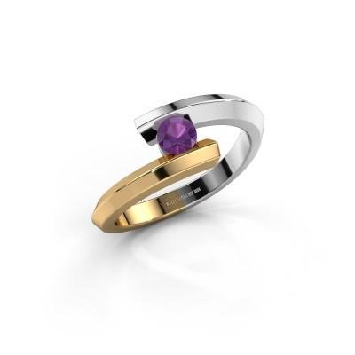 Ring Paulette 585 witgoud amethist 3.4 mm