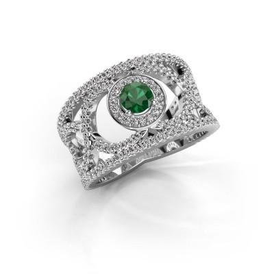 Foto van Ring Regina 925 zilver smaragd 4.2 mm