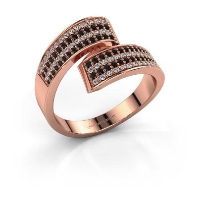 Ring Athena 375 rosé goud zwarte diamant 0.741 crt