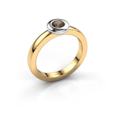 Ring Iris 585 gold smokey quartz 4 mm