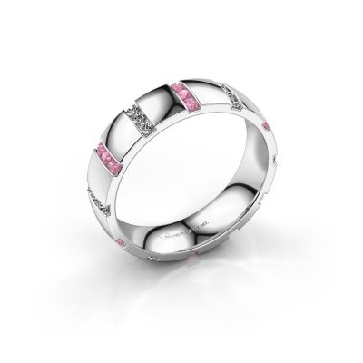 Huwelijksring Juul 950 platina roze saffier ±5x1.8 mm