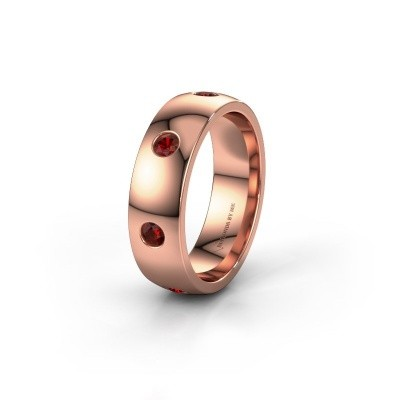 Wedding ring WH0105L26BP 375 rose gold garnet ±6x2 mm