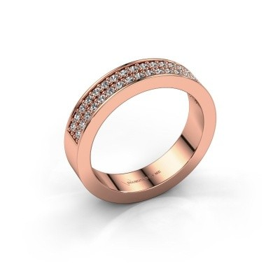 Stackable ring Catharina 4 375 rose gold diamond 0.36 crt