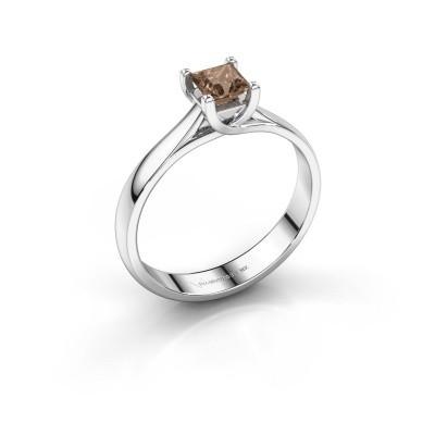 Engagement ring Mia Square 950 platinum brown diamond 0.40 crt