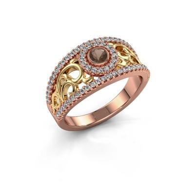 Foto van Ring Lavona 585 rosé goud rookkwarts 3.4 mm