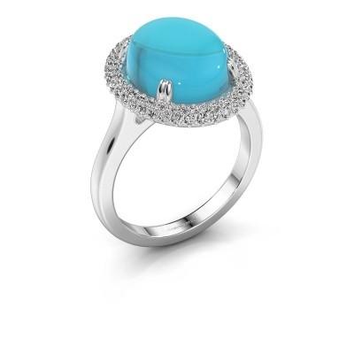 Foto van Ring Jayna 950 platina blauw topaas 12x10 mm