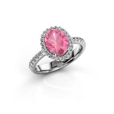 Foto van Verlovingsring Lavelle 585 witgoud roze saffier 9x7 mm