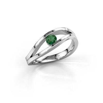 Aanzoeksring Sigrid 1 950 platina smaragd 3.7 mm