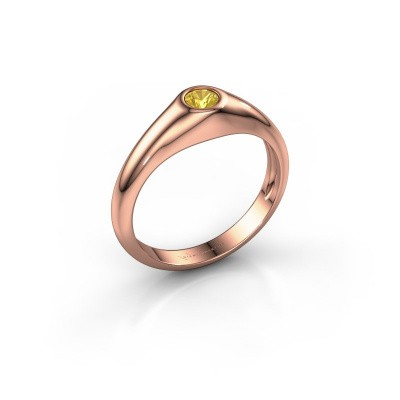 Foto van Pinkring Thorben 375 rosé goud gele saffier 4 mm