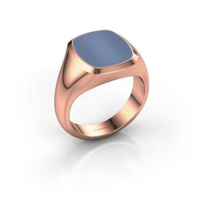 Foto van Zegelring Benjamin 3 375 rosé goud licht blauwe lagensteen 14x12 mm