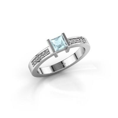 Engagement ring Jordan 950 platinum aquamarine 4 mm