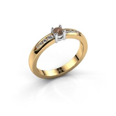 Bague de fiançailles Zohra 585 or jaune diamant brun 0.237 crt