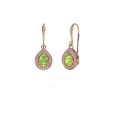 Picture of Drop earrings Beverlee 2 375 rose gold peridot 7x5 mm