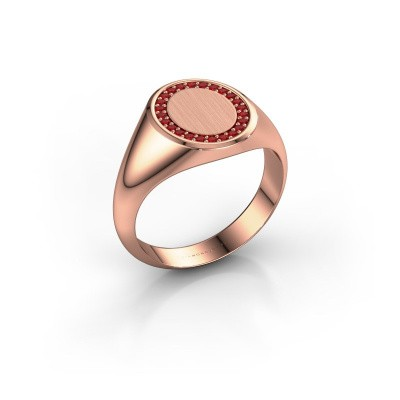 Men's ring Floris Oval 2 375 rose gold ruby 1.2 mm