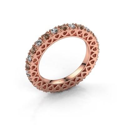 Aanschuifring Hailey 375 rosé goud bruine diamant 1.17 crt
