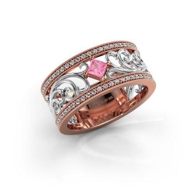 Ring Danae 585 rosé goud roze saffier 3 mm